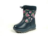 Детские зимние ботинки для девочек, искусственная кожа+болонь, размеры  23-28