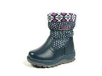 Детские зимние ботинки для девочек, искусственная кожа+болонь, размеры  23-27