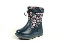 Детские зимние ботинки для девочек, искусственная кожа+болонь, размеры  23-26