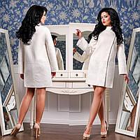 Комбинированное демисезонное пальто  Ф 77926  Молоко
