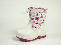 Детские зимние ботинки для девочек, искусственная кожа+болонь, размеры  24-28