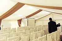 Оформление тканями, декорирование тканью шатров, залов, любых площадок, драпировка потолка, стен.