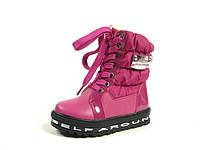 Детские зимние ботинки для девочек, искусственная кожа+болонь, размеры  27-29