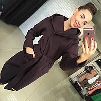 Женское демисезонное пальто из кашемира на подкладе с капюшоном Харьков. Различные цвета Размеры 42-48 АБ 1612