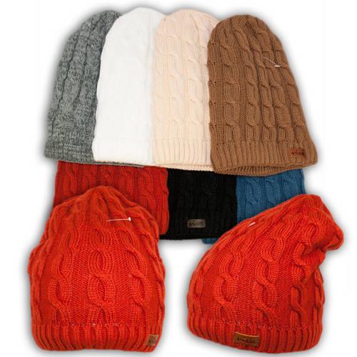 Вязаная шапка с удлиненным верхом для девочек, подкладка флис, код. V209