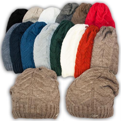Вязаная шапка с удлиненным верхом для девочек, подкладка флис, код. V307