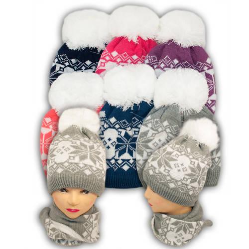 Шапка и шарф для девочек, подкладка флис, код. V301