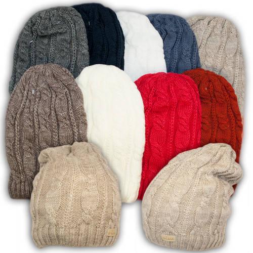 Вязаная шапка с удлиненным верхом для девочек, подкладка флис, код. V241