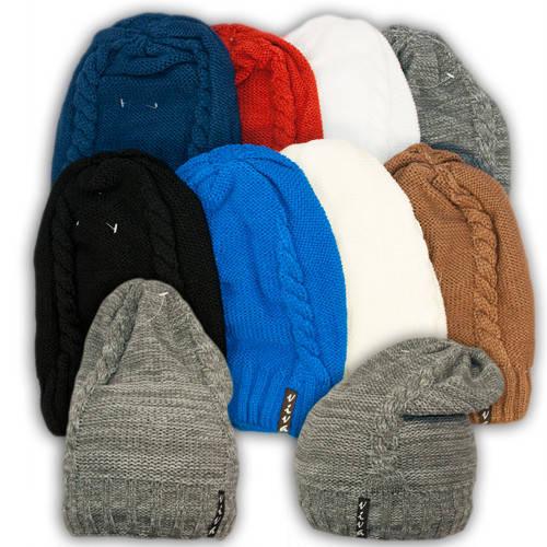 Вязаная шапка с удлиненным верхом для девочек, подкладка флис, код. V203