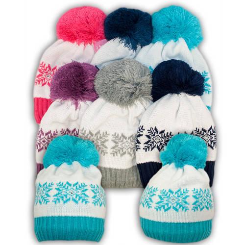 Вязаная шапка с помпоном для девочек, подкладка флис, код. V300