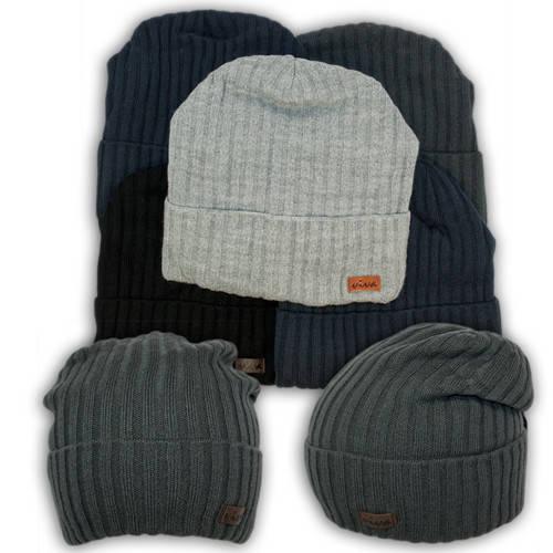 Вязаная шапка с защипом для мальчика, подкладка флис, код. V237