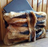 Сумка-чехол для планшета или ноутбука из натурального меха лисы с кожей, размер 30х20х4 см, фото 1