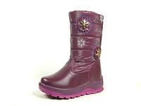 Зимние детские сапоги для девочек, кожа искусственная+болонь, размеры 27.28
