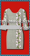 Красивая заготовка для вышивки женского платья,габардин-лен,  до 52 р, 390/350 (цена за 1 шт. + 40 гр.)