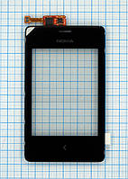 Тачскрин сенсорное стекло для Nokia 502 Asha with frame black