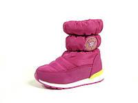 Детские зимние ботинки-дутики для девочек, искусственная кожа+болонь, размеры 32-37
