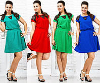 Летнее платье со вставками гипюра. 4 цвета. р.48,50,52,54