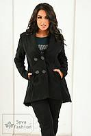 Пальто женское кашемировое Фрак чёрное  Батал