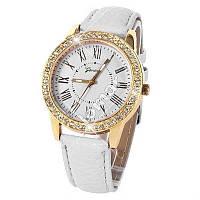 Элегантные женские часы Geneva Cristal White со стразами