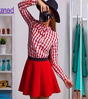 Рубашка женская в клетку длинный рукав хлопок Rb21