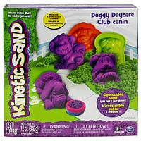 Песок для детского творчества - KINETIC SAND DOGGY (фиолетовый, зеленый, формочки, 340г). Арт. 71415Dg