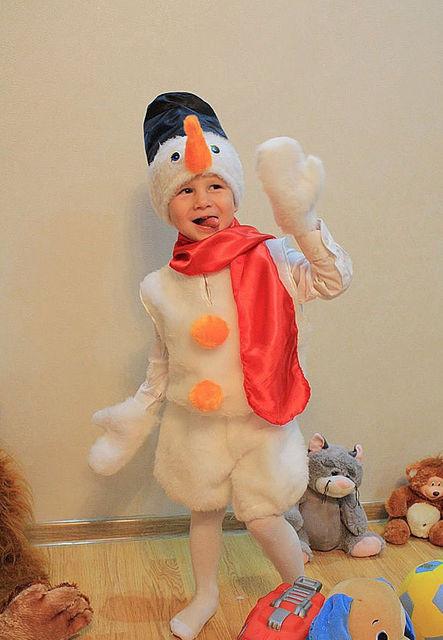 Карнавальный костюм Снеговик из меха на 3-7 лет