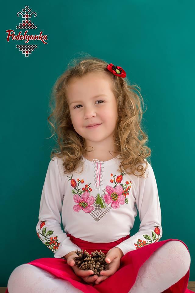 Вишиванка для дівчинки Шипшина з довгим рукавом  продажа e00af8f429479