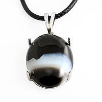 Оникс, серебро 188КЛО, кулон.