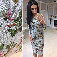 Платье теплое из ангоры цветочные узоры SMok758