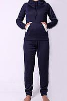 Теплый женский спортивный костюм темно-синего цвета