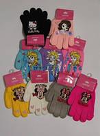 Теплые перчатки для девочек с мульт персонажами, от 2 до 5 лет