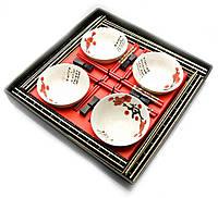 Сервиз для лапши Белый с цветами сакуры на 4 персоны керамика