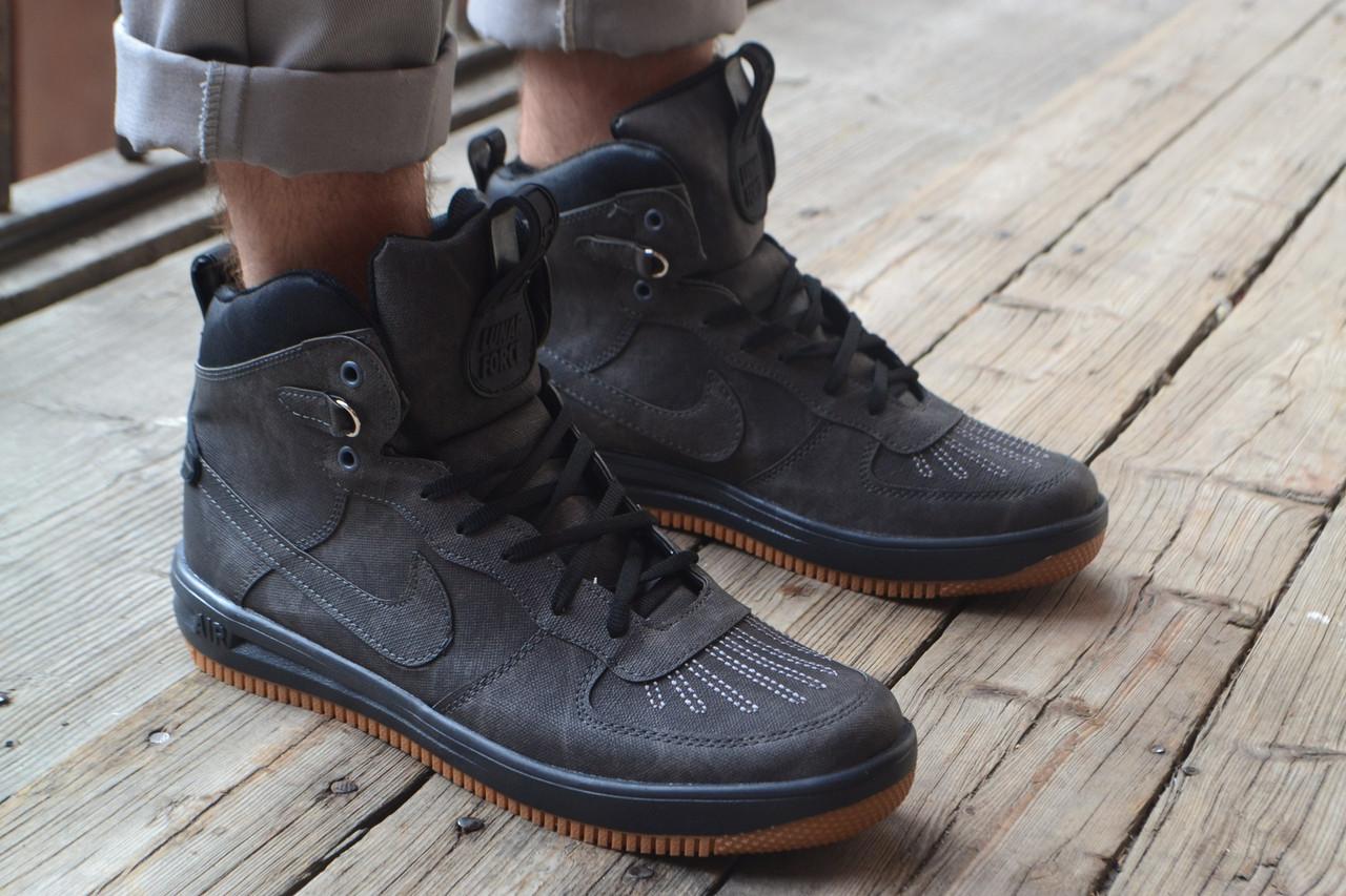 7235daea0713 Кроссовки мужские высокие осенние Nike Lunar Force 1 Duckboot grey  (реплика) -