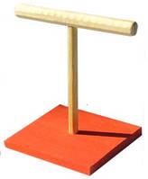 ЛОРИ Игрушка для птиц жердочка на подставке большая, дерево 20см