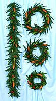 Гирлянда из пластиковых веток , скрученная нитками , декор 60 см Коллекция А-13