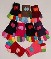 Теплые перчатки для девочек, с бантом, от 3 до 6 лет