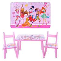 Детский столик 2547-34 и два стульчика Винкс