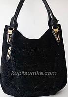 Женская замшевая сумка со стразами