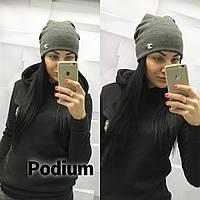 Стильная женская шапка серая