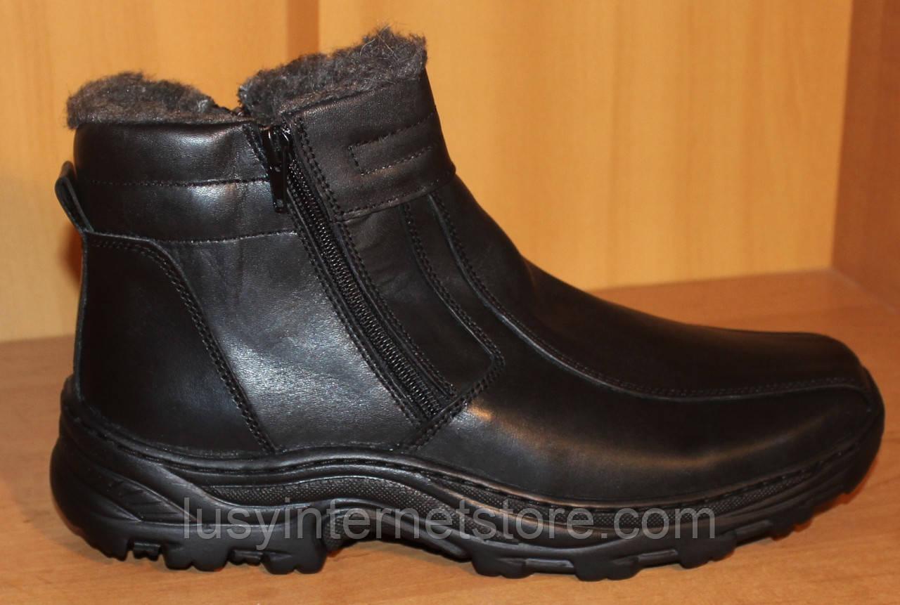 Ботинки мужские зимние из натуральной кожи черные на молнии от производителя модель АМ400
