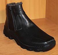 Ботинки мужские зимние из натуральной кожи черные на молнии, ботинки на молнии зимние из натуральной кожи