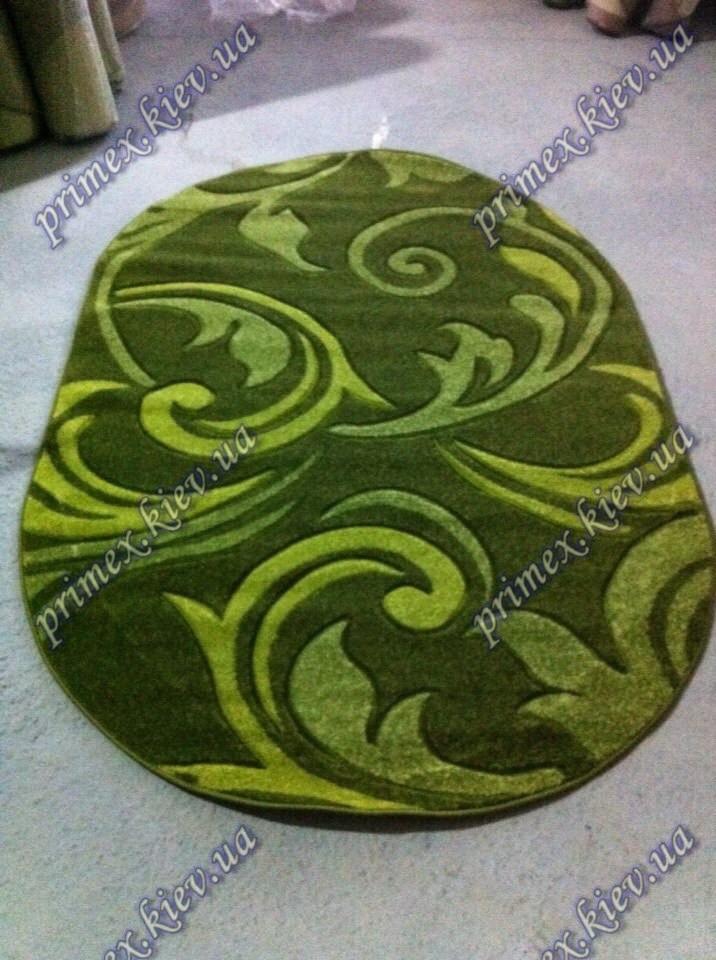 """Рельефный овальный ковер Арда """"Ветерок"""", цвет зеленый"""