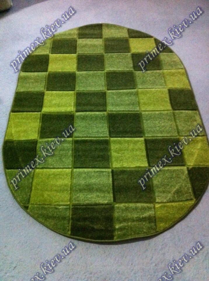 """Рельефный  овальный ковер Арда """"Мозаика"""", цвет зеленый"""