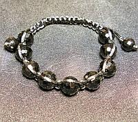 Браслет шамбала чешский граненный черный кристалл