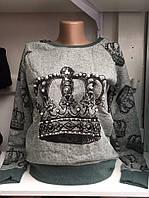 Женский серый свитшот с королевской короной