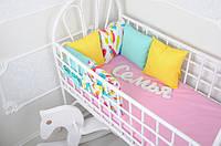 """Бортики - подушки в детскую кроватку + простынь, """"Классик"""" Перышки"""