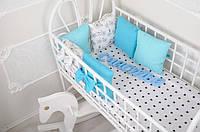 """Детские подушки - бортики в кроватку + простынь, """"Классик"""" Велосипеды"""