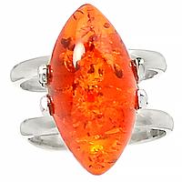 Янтарь Прибалтика, серебро 925, 185КЦЯ, кольцо
