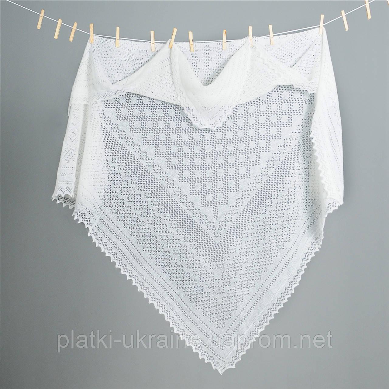 Оренбургский пуховый платок  размер 130х130см  Цвет Белый
