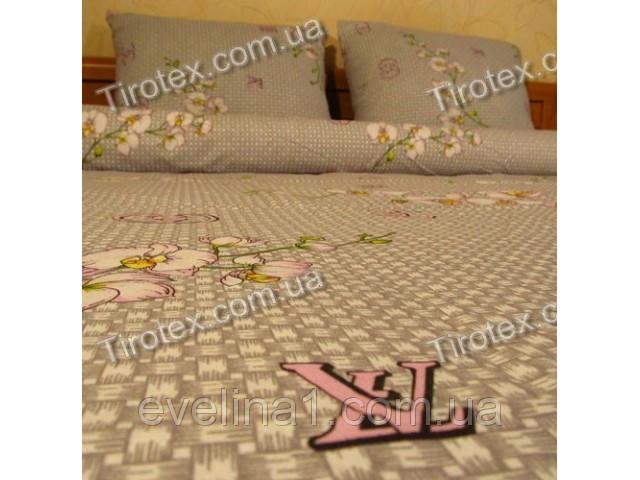 Комплект постельного белья из бязи с принтом лейбла LV